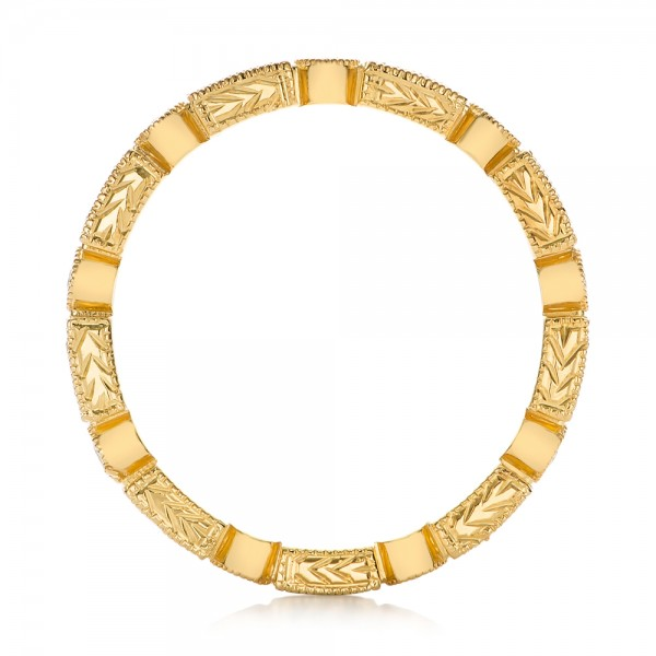 Yellow Gold Round and Baguette Diamond Stackable Eternity Band - Finger Through View