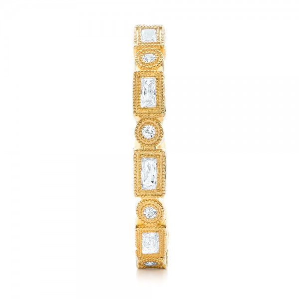 Yellow Gold Round and Baguette Diamond Stackable Eternity Band - Side View
