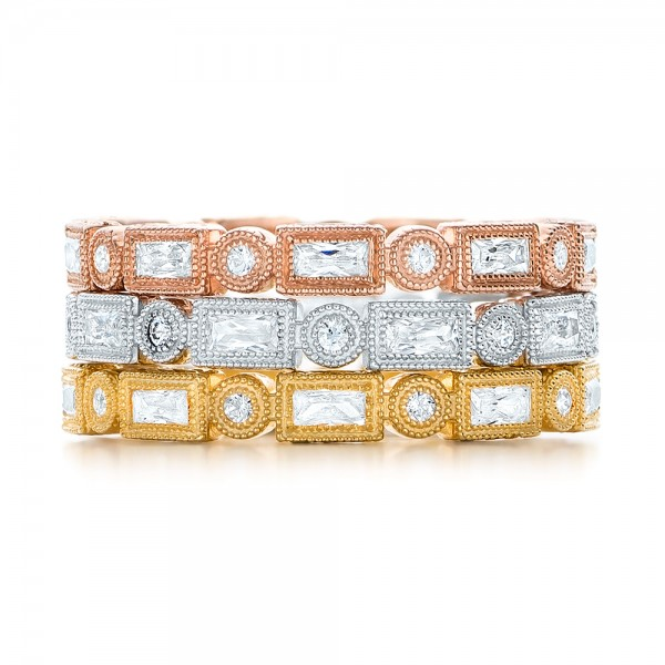 Yellow Gold Round and Baguette Diamond Stackable Eternity Band - Top View