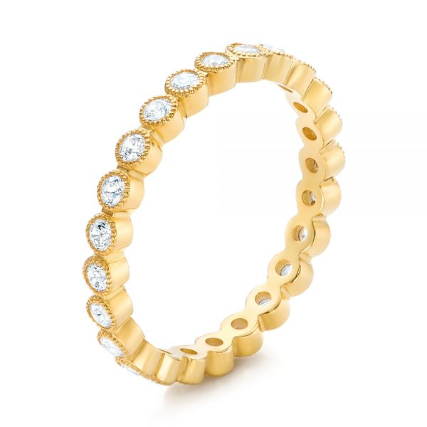 Yellow Gold Stackable Diamond Eternity Band - Image