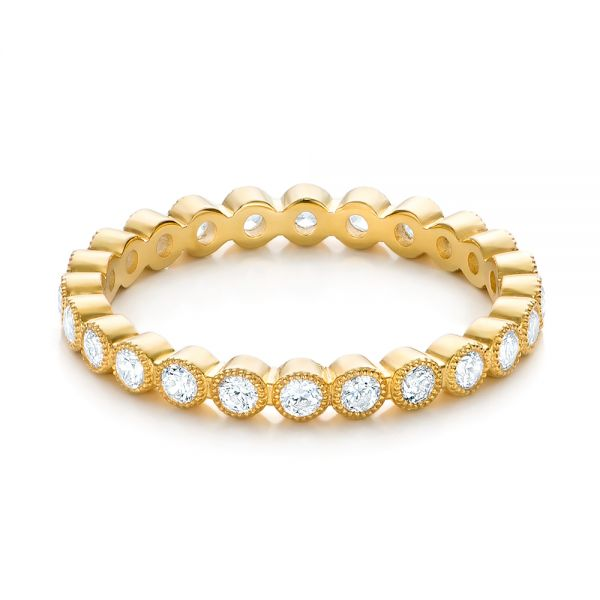 Yellow Gold Stackable Diamond Eternity Band - Flat View -  101906 - Thumbnail