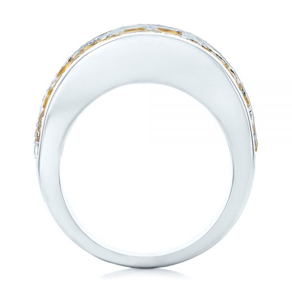 18k White Gold Yellow Sapphire And Diamond Anniversary Band - Front View -  101366
