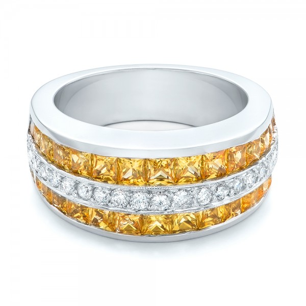 Yellow Sapphire and Diamond Anniversary Band - Laying View