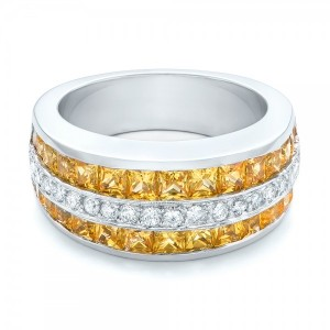 Yellow Sapphire and Diamond Anniversary Band