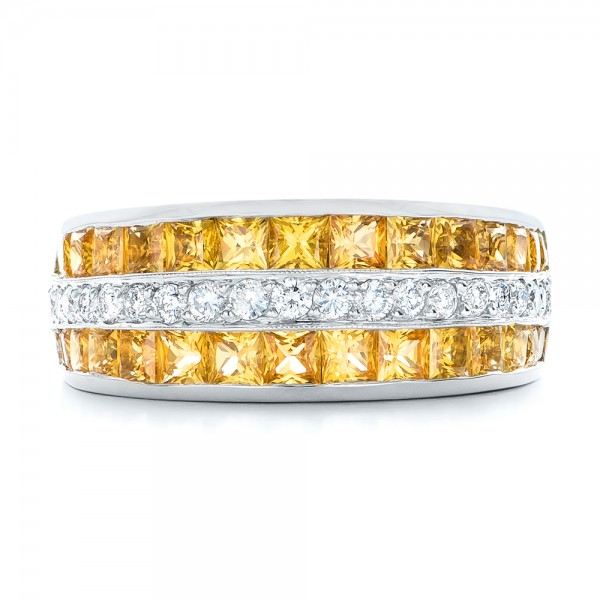 Yellow Sapphire and Diamond Anniversary Band - Top View