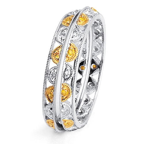 Yellow and White Diamond Women's Wedding Bands - Parade
