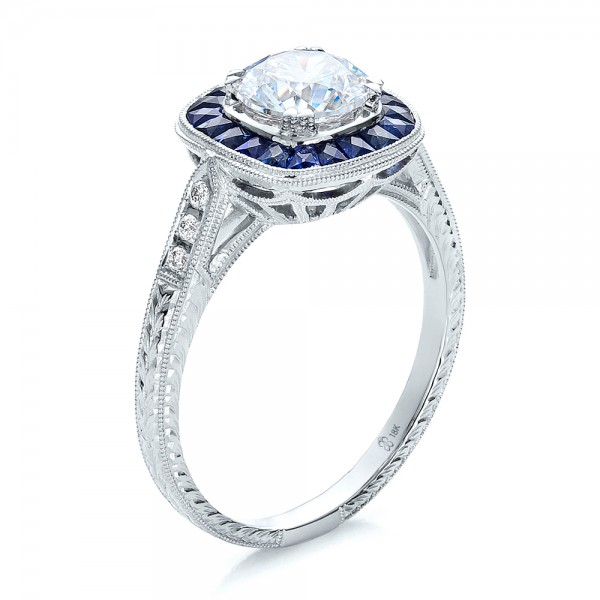 Engagement Rings-Art Deco Style Blue Sapphire Halo and Diamond Engagement Ring
