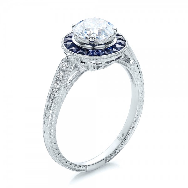 Art Deco Style Blue Sapphire Halo and Diamond Engagement Bellevue Sea