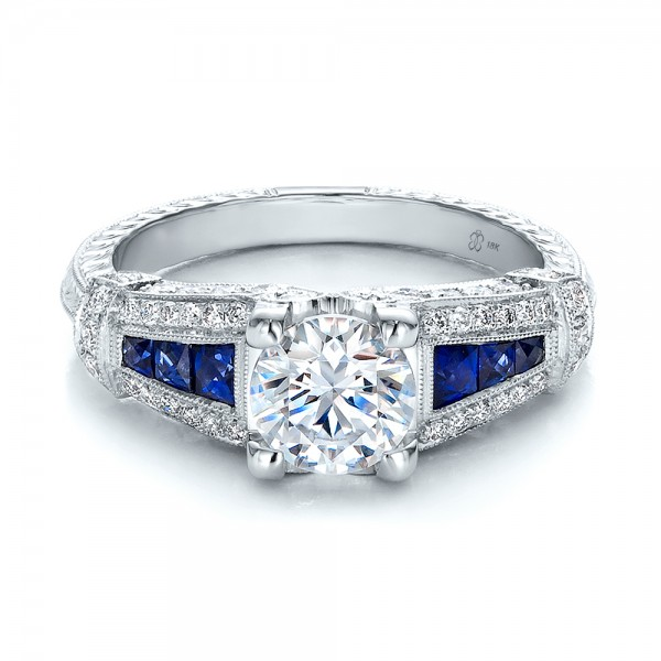 Art Deco Style Blue Sapphire and Diamond Engagement Ring Bellevue Sea