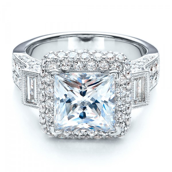 baguette side stones princess cut engagement ring vanna