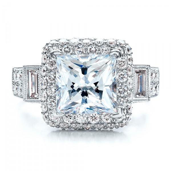 Baguette Side Stones Princess Cut Engagement Ring - Vanna K