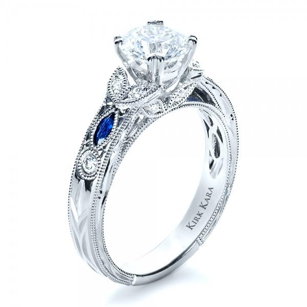 Blue Sapphire Engagement Ring Kirk Kara 1415 Bellevue Seattle Joseph Jewelry