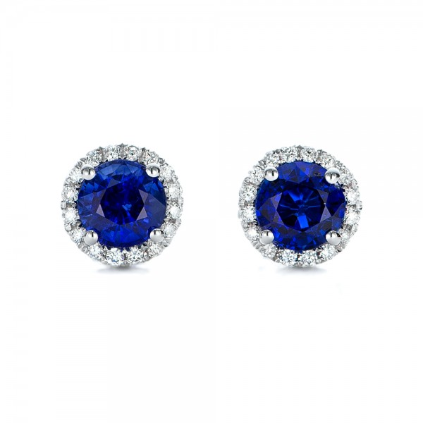 Blue Sapphire and Diamond Halo Earrings Bellevue Seattle Joseph Jewelry