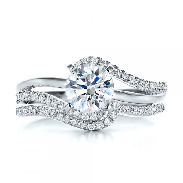 Contemporary Curved Shared Prong Diamond Wedding Band 100410 Bellevue Seattle Joseph Jewelry