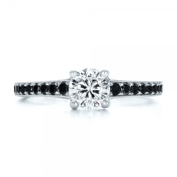 Custom Black Diamond Engagement Ring Bellevue Seattle Joseph Jewelry