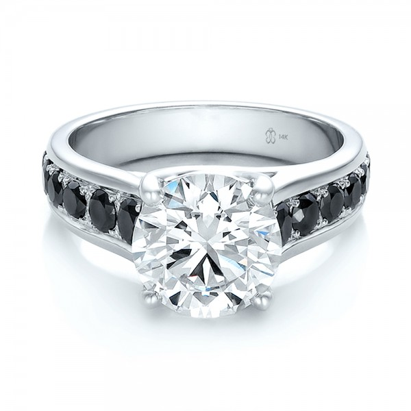 Engagement Rings With Black: Custom Black And White Diamond Engagement Ring #100606