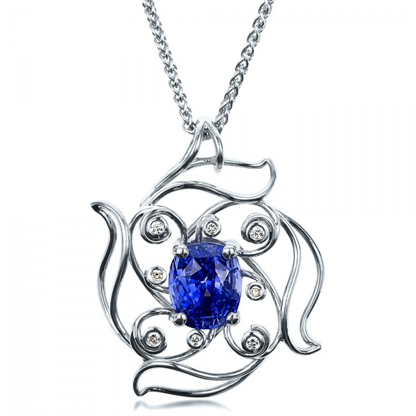Custom Blue Sapphire Pendant | Joseph Jewelry Seattle Bellevue