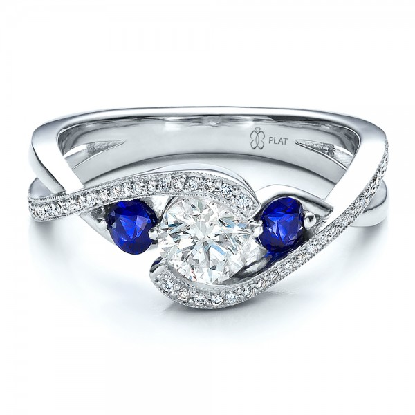 Attrayant Engagement Rings âu20acº Custom Blue Sapphire And Diamond Engagement Ring