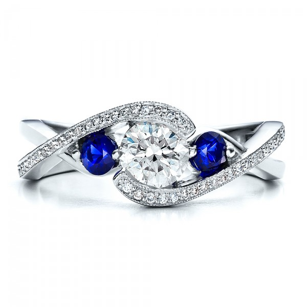 Custom Blue Sapphire and Diamond Engagement Ring Bellevue Seattle Jos