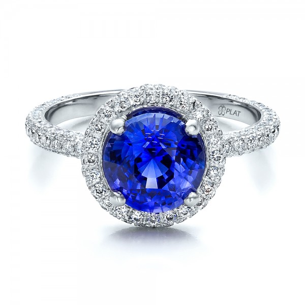 Custom Blue Sapphire and Pave Engagement Ring Bellevue Seattle Joseph