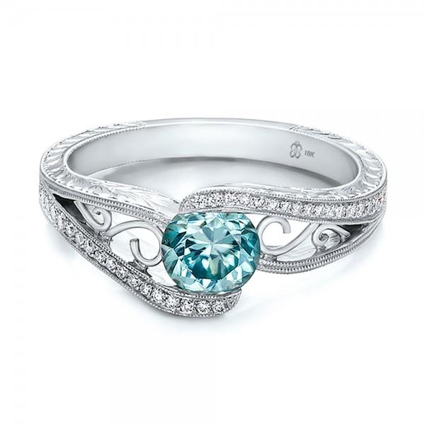 Custom Blue Zircon And Diamond Engagement Ring #100645