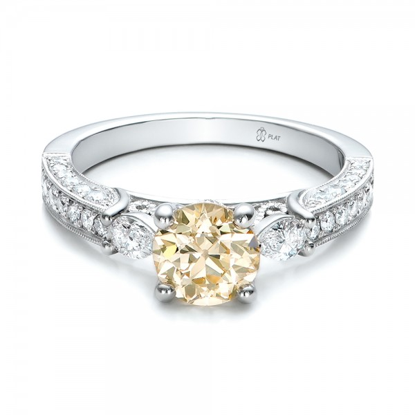Custom Champagne Diamond Engagement Ring 100926 Bellevue Seattle Joseph Jewelry