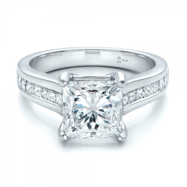 Princess Cut Diamond Palladium Engagement Ring