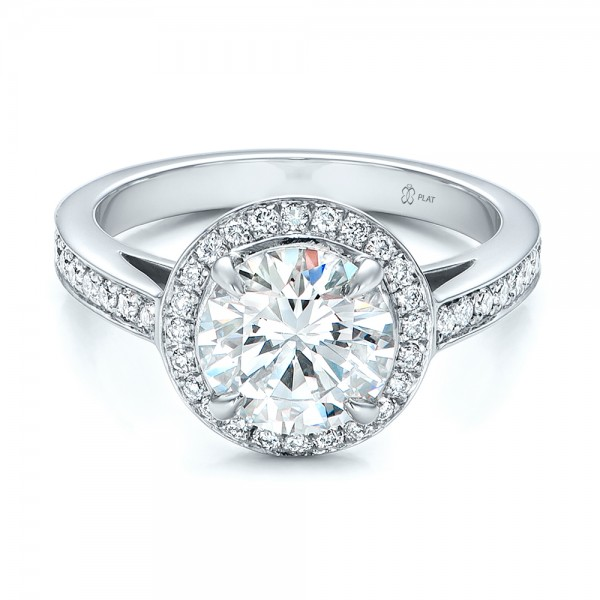 Custom Diamond Halo Engagement Ring Bellevue Seattle Joseph Jewelry