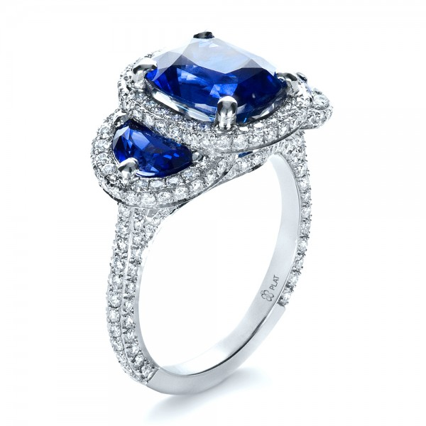 Custom Diamond and Blue Sapphire Engagement Ring 1405 Bellevue Seattle Josep