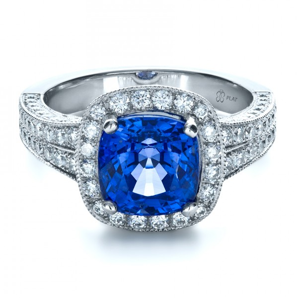 Custom Diamond and Blue Sapphire Engagement Ring 1212 Bellevue Seattle Josep