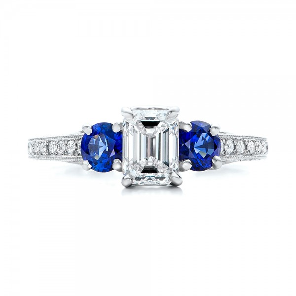 custom emerald cut and blue sapphire engagement