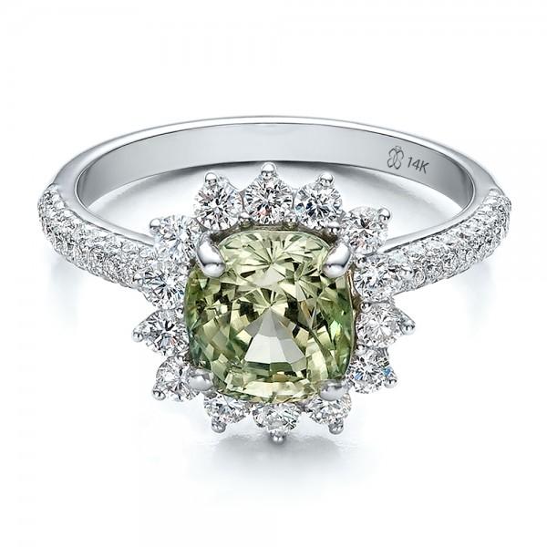 Custom Green Sapphire And Diamond Engagement Ring 100111 Bellevue Seattle Joseph Jewelry