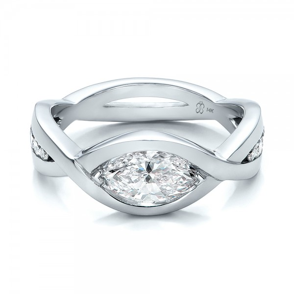 Custom Marquise Diamond Engagement Ring Bellevue Seattle Joseph Jewelry