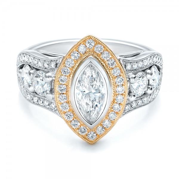 Custom Marquise Diamond Two Tone Engagement Ring 101258 Bellevue Seattle Joseph Jewelry