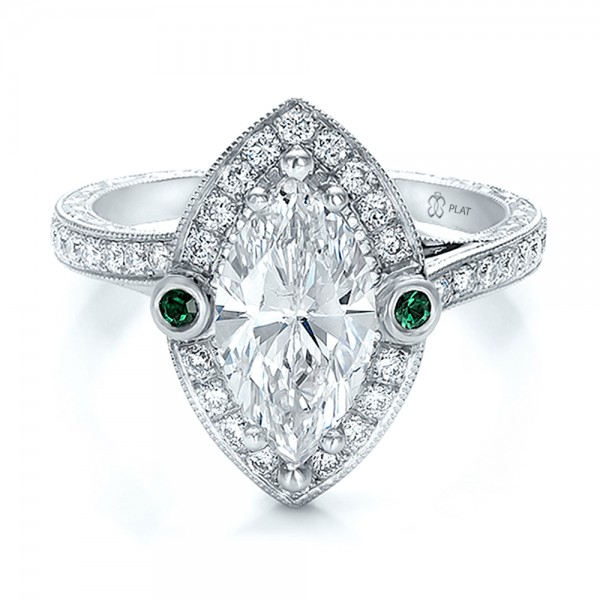 Custom Marquise Diamond with Halo and Emerald Engagement Bellevue Sea
