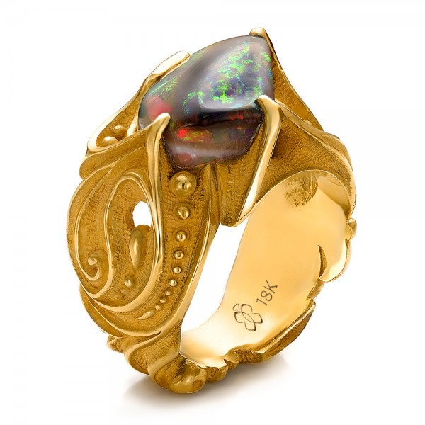 custom s black opal and yellow gold ring 100574