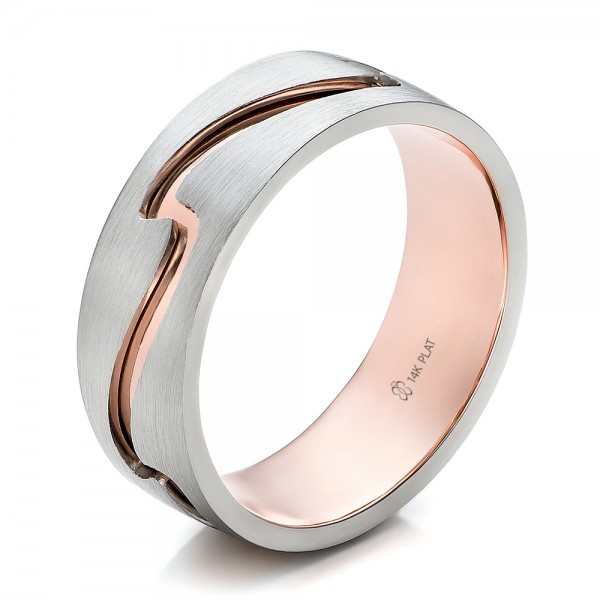 Custom Mens Two Tone Rose Gold And Platinum Band 100819 Bellevue Seattle Joseph Jewelry