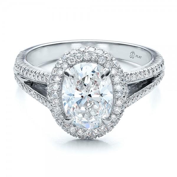 Custom Pave Halo Engagement Ring Bellevue Seattle Joseph Jewelry
