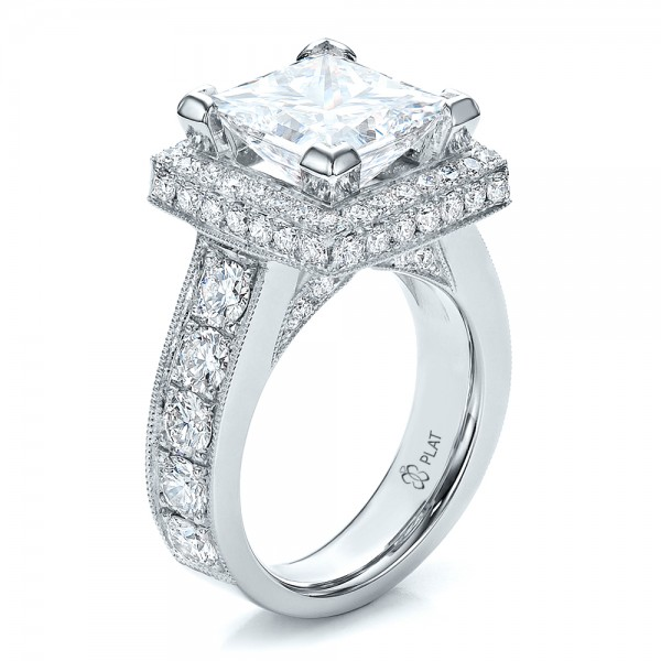 Custom Princess Cut and Halo Engagement Ring #100124 ...
