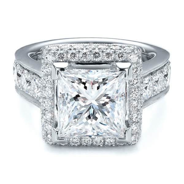 Custom Princess Cut and Halo Engagement Ring #100124