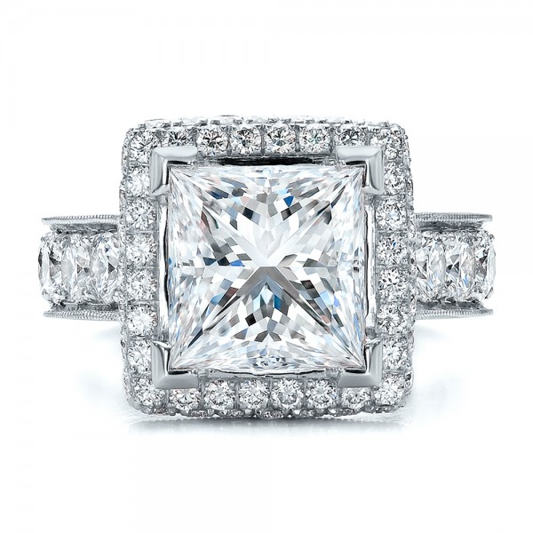 Custom Princess Cut and Halo Engagement Ring Bellevue Seattle Joseph
