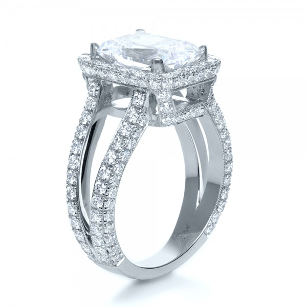 custom radiant cut and halo engagement ring 1117