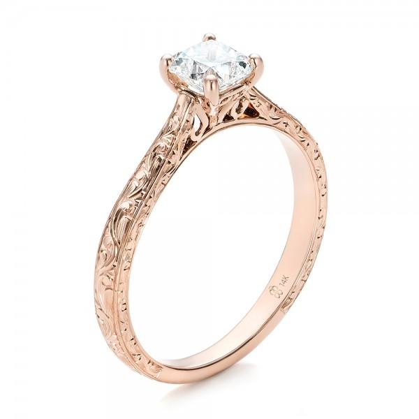 Custom Rose Gold Solitaire Diamond Engagement Ring Bellevue Seattle J