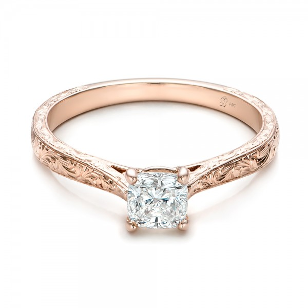 Custom Rose Gold Solitaire Diamond Engagement Ring Bellevue Seattle J