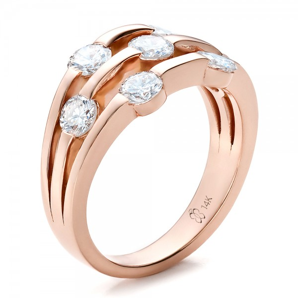 Engagement Rings-Custom Rose Gold and Diamond Engagement Ring