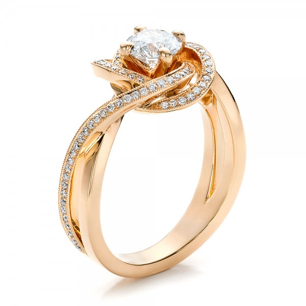 Custom Rose Gold and Diamond Engagement Ring Bellevue Seattle Joseph