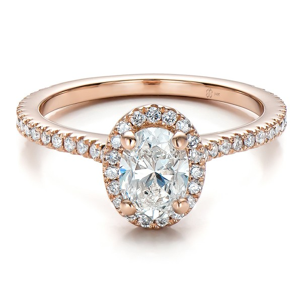 Custom Rose Gold and Diamond Halo Engagement Ring Bellevue Seattle Jo