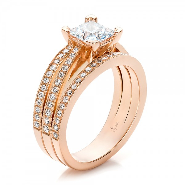 Engagement Rings-Custom Rose Gold and Princess Cut Diamond Engagement Ring