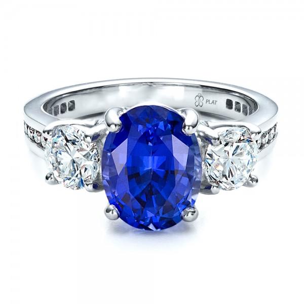 Custom Sapphire and Diamond Engagement Ring