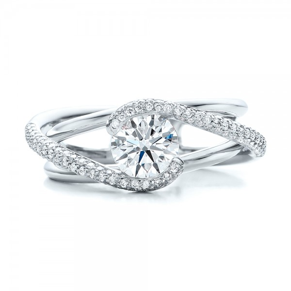 Custom split shank pave diamond engagement ring 100885 for Split shank engagement ring with wedding band